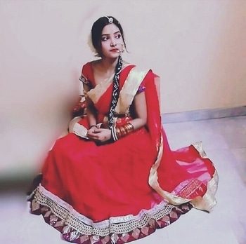 peace can be only find the moment u decide to!😇🤗 #bridallookbookphotoshoot #gajralove  #traditionalpic  #makeup and hair  #redlehengaswedding  #hair-do  #nosering  #maangtikka  #weddingjewelry  #poser! ❤