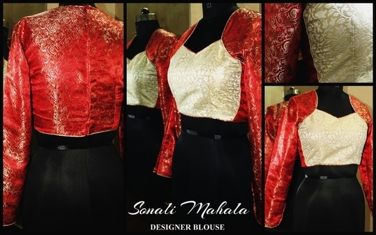 "Sonali Mahala Couture Boutique  Designer Blouse for Women. Brocade Fabric in Jacket Style. Size: 34"" CALL NOW TO ORDER: +91 9741951940 Or JUST INBOX US ORDER SOON!!!"
