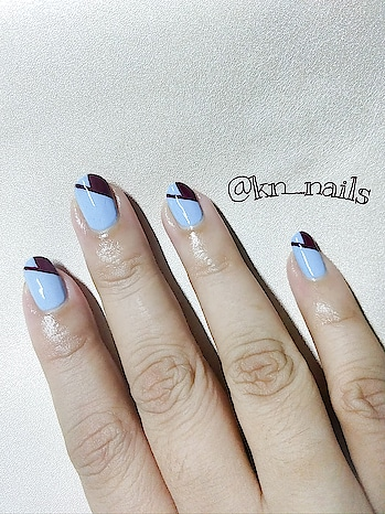 this design is simply elegant. inspired by #julie k. @paintboxnails on insta. try this design in diff. colors n tag me... i love this colors whats ur nxt mani?? #nails #nail-addict #nailartdesigns #nail-designs #nailsoftheday #nailartistry #blue-coloured #maroon #simpleyetelegant #nailartideas