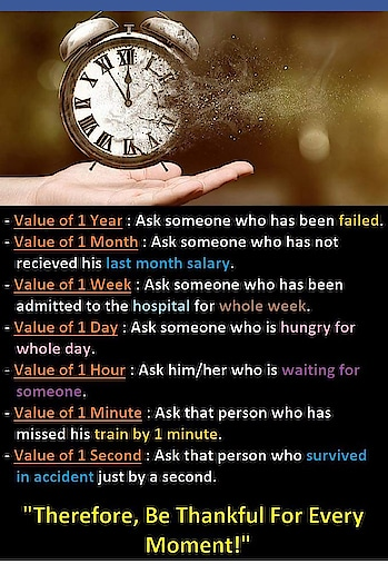 Be thankful to God for every second