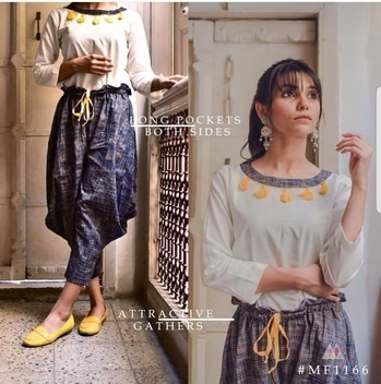 "💦💦 This Monsoon Wet Yourself With Our New Outfit  🌈  Organic khadi Fabric Pants🌈 Top :Pure cotton  Fabric : Stitched pure khadi organic cotton Fabric Pants Having Dori On Waist   Top Length:28""inch's  ☂ Size :42  ☂ Rate: (including GST)   Now on preebooking   Nd it origanal not replica   Nd bottom not in Cambric cotton it's on pure organic khadi cotton  Despatch wednesday onwards  #buynow #latestcollection #latest_wize_collections #khadi cotton #topswithpants  #khadicotton"