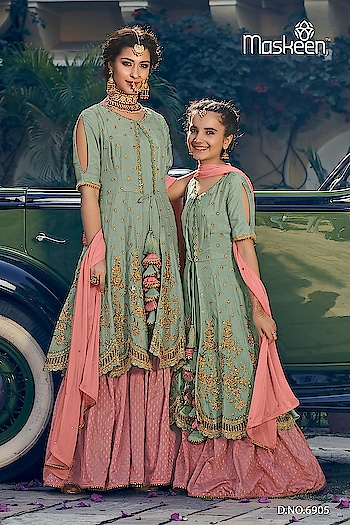 This Ramadan...twinning with your daughter😍 Maisha - *RiwaaYat*  *Mother and Daughter suits Collection* Fabric details and Price on request  Semi-Stitched top.. *Mother suit - Top size..Upto 46* *Daughter suit - Top size (can stitch from 26 to 34 size)* *Age Group : 7 to 13 years*  Full-Stitched bottom  Ready to Ship !! Multiples Available in stock !!