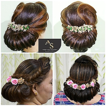 Advance hairstyling in Low Bun👰🏻 at Anoop Sir & Sugandha Makeovers🎀  Call : 9311499676,           9212086600,           9811389442