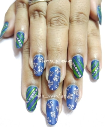combination of matte and glitter #nailart  #nailaddict #naildesign #nailartfun #lovenailart #nailartforever #lovenailartindia #roposodiaries2017 #goals2017 #newpost #mywork #like #followme #positivevibes #bluenails #mattenails #glitternails