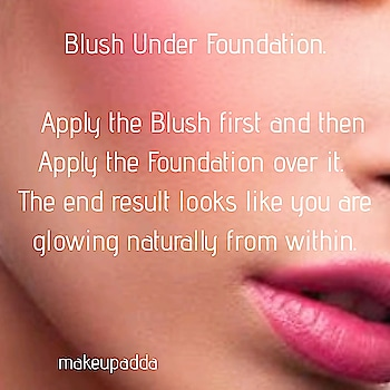 Blush Under Foundation.  This is a clever way of reversing the order of applying the product to get smashing results.  All you have to do is apply the blush first and then apply the foundation over it.  The end result looks like you are glowing naturally from within. . . . . . . . . . . . . #hackoftheday #beautytipoftheday #beautytipsandtricks #makeuptipoftheday #makeuptip #makeuptipsandtricks #makeuphacks #blush #glowingskin #blushmakeup #contentcreator  #beautyinfluencers #bangalorebeautyinfluencer #Bangalorebeautyblog  #indianbeautyinfluencer #indianbeautyblog