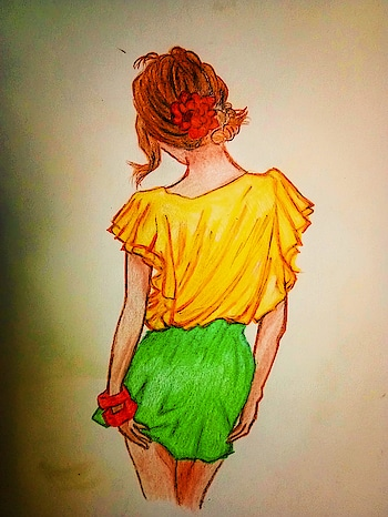 #sketchings  #artlovers  #my-art #ropo-girl #color-pop #bunhairstyle #pencil-effects