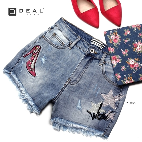 Pair this heels embellished hot shorts with high heels & let the world envy your style quotient! #DealJeans
