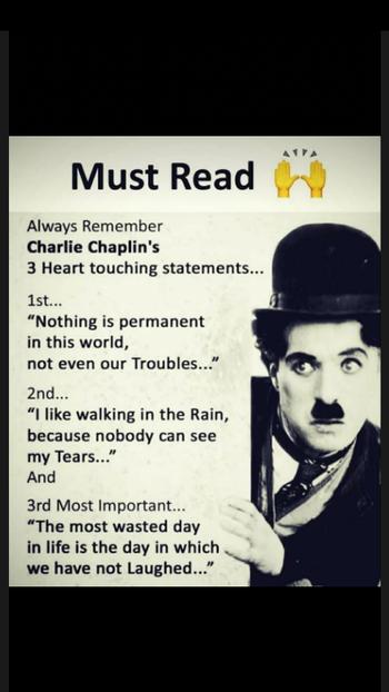 😎#must_read #charliechaplin #charliechaplinstyle #true #truestory #truestar #hearttouching #meaningfulquotes #motivationalquotes #motivated