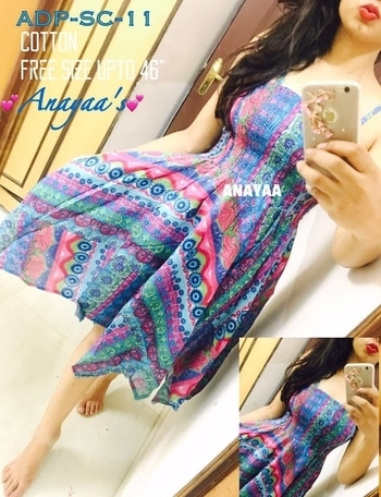"""💕ADP Flairy strap Dresses 💕 Free chest size upto 46""""  Cotton *Price-699+$* DM or wats app on 9-6-4-2-3-5-3-5-3-8 for orders and queries.  Please visit our profile for more varieties of products. #dresses"""