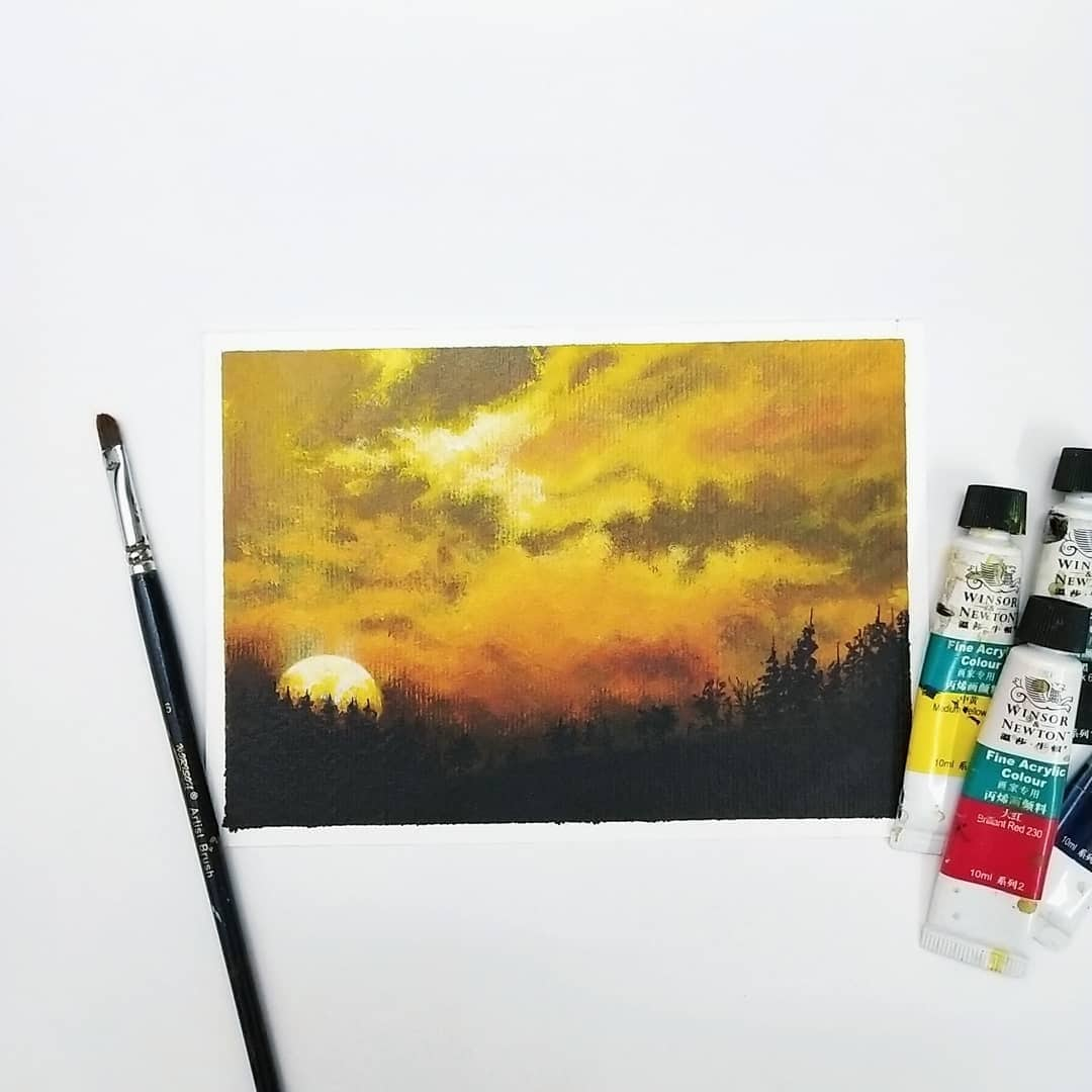 Let the beauty of sunrise, keep your heart warm. - Lailah Gifty Akita  Doing a new 5 piece series on Sunrise / Sunset. 😊 . @winsorandnewton Fine Acrylic colour @creativehandsartmaterials Brustro Artists Acrylic paper 5x7 in . . . #painting #indianartists #trees  #nature #artfeature  #artdaily  #artist #nature  #drawing  #artlovers  #love  #roposo-beauty  #artist  #acrylic  #acrylicpainting #myarts #myartwork #my_art #myartistry #roposo-creative #creative-channel #roposo-creativephoto