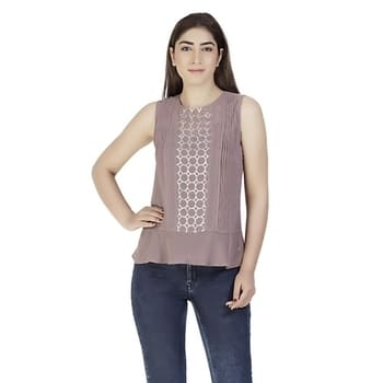Brown sleeveless embellished top with pleated and sequins.Fashion using Georgette fabric. #brown #georgette #sleevelesstop #sequinswork  #women-fashion #casual #love-yourself