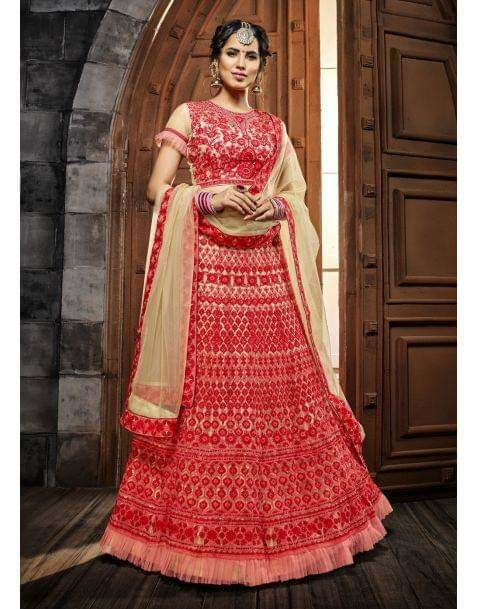 Stand out at the next family function with this gorgeous #red and #cream #lehengacholi.Grab this @ https://goo.gl/oDAkRu  Grab Up To 65% OFF and get extra 10% OFF on all orders above $199 using code EXTRA10 & get extra 15% OFF on all orders above $299 using code EXTRA15 !!  #newarrivals #newlaunch #partywear #ethnicwear #lehenga #style #net #embroidery  #photography #instamood #instaupload #fashion #indianfashion #ethnic #usa #india #canada #australia #dubai #uae #mauritius #london #uk #shoponline