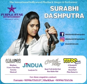 Bollywood Playback Singer #SurabhiDashputra is exclusively managed by #PSE #PurpleStarEntertainment 🌟   For business enquiries contact  #ForumVaghelaSingh +919967351537  #ShekharSingh +919967351536  #bollywood