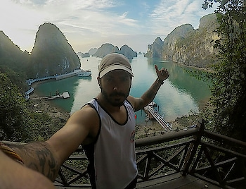 Halong bay!!!one of the most amazing places we have ever been, beautiful landscape and unforgettable experience!!  #musafir #musafirchannel #halongbay #vietnam  #travelphotography #travel  #adventure  #wanderlust #gopro5  #hero5  #goprohero5  #quechua  #gopro #southeastasia #selfiemode  #selfie  #yolo  #followme  #followformore  #thankyouroposo #followforfollow