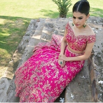#Dollystudio.  Trail lehengas from #jamini collection.  #trail #bridal collection #couture 2017 #fuschia pink.# Mumbai. #winter wedding.