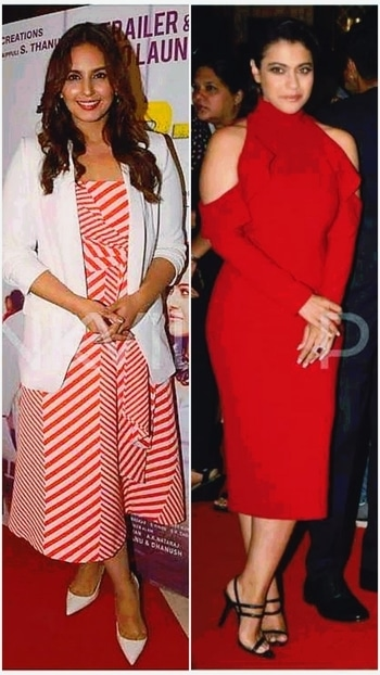 Kajol and Huma looking fresh and lovely in their respective appearances. Kajol doing justice to ruffled  cold shoulder by tying her hair.😚😙. #bollywoodstyle #glamour style#glamorouslook #chicstyle #glamdiva#fashiondesigner #fashionpost#fashionstatement #fashionblog#fashionblogger#roposostyle #roposofashionblogger #roposofever#roposofashionlovers #roposoindia #roposofiles#fashionbloggernetwork#delhibloggernetwork  #styleonmymind