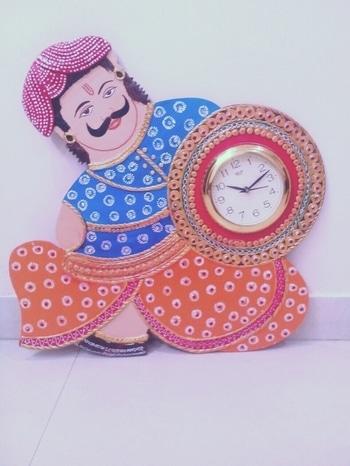 wall clock made by paper machi wooden art craft rs   .....1500   #art
