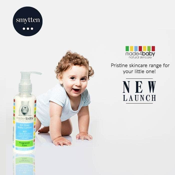 """Made4baby make natural skincare for babies and kids. The """"4"""" in the brand name, interestingly stands for NO harsh detergents, petrochemicals, artificial fragrances or parabens. Hence making it pristine for your little one in its very true sense!   Shop for Made4baby on our app (http://onelink.to/smytten) or on our website (www.smytten.com) #smytten#getsmytten#luxury#premiumbrand#newlaunch#Made4Baby#babycare"""