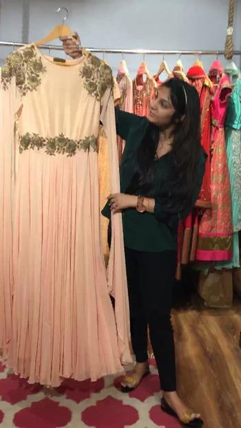 Pastel Pink Cape Sleeved Gown by NIKITA GUPTA