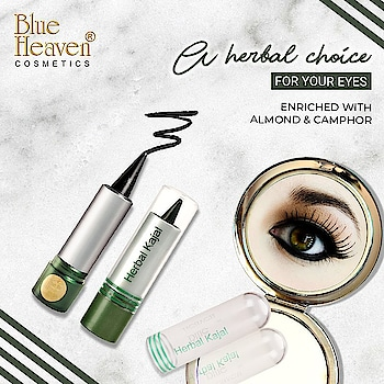 Give your eyes, a herbal care. Charm your eyes and slay every occasion with our handpicked herbal Kajal. #HerbalKajal #EyeCare #Makeup #MakeupAndMore #Cosmetics #Looks #BlueHeavenCosmetics #BlueHeaven