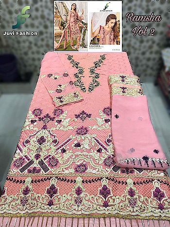 MAYSA COLLECTIONS: 💕 * #RAMSHA VOL 2*💕 *EID FESTIVE COLLECTION 18* *Super Hit Designs*                  👇🏻Fabric details 👇🏻  👗 Top : GEORGETTE WITH HEAVY EMBROIDERY AND ADDITIONAL HANDWORK IN ALL PCS  👖Bottom   : HEAVY SANTOON  🌹INNER- HEAVY SANTOON   🔺Dupatta : NAZNEEN CHIFFON EMBROIDERED DUPATTA  NOTE : HEAVY ADDITIONAL WORK IN ALL PCS  Price : 1249+ Gst Single rate 1700/-  6 pcs set Dispatch: Ready 💯%  🚶🏻🚶🏻🏃🏼🏃🏼🏃🏼Hurry Up Whatsapp on. +918879845751.  +919029093762  Whatsapp maysa collections directly from here.. https://api.whatsapp.com/send?phone=918879845751  Also Join our below networks free for getting latest updates.  Hello, thank you for your valuable message to MAYSA COLLECTIONS.  Will get back to you soon..   FACEBOOK  https://www.facebook.com/maysacollections  YOUTUBE CHANNEL https://www.youtube.com/channel/UCWAOvQymcY3bTdp_0jFiuzA  TELEGRAM https://t.me/maysacollections  INSTAGRAM https://www.instagram.com/maysacollection6125  ROPOSO https://www.roposo.com/profile/maysacollection/18166642-9884-481a-ad55-8efb727cb4c
