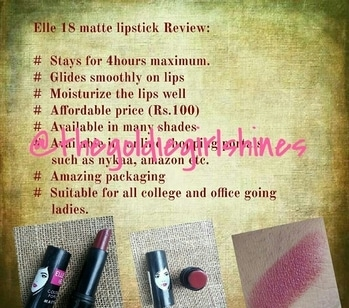 Mini review of Elle18 matte lipstick.  Shade name : Red spin Shade number : R36 It's an Amazing product and it's a must have product!!  #Elle18 #reviews #minireview #lipstick #thegoldiegirlshines  #blogger #organicblogger #skincareblogger #trichyblogger #swatch #matte  #Roposo #roposoblogger #skincare